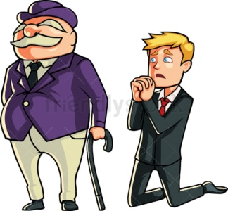 Businessman begging a banker. PNG - JPG and vector EPS file formats (infinitely scalable). Image isolated on transparent background.
