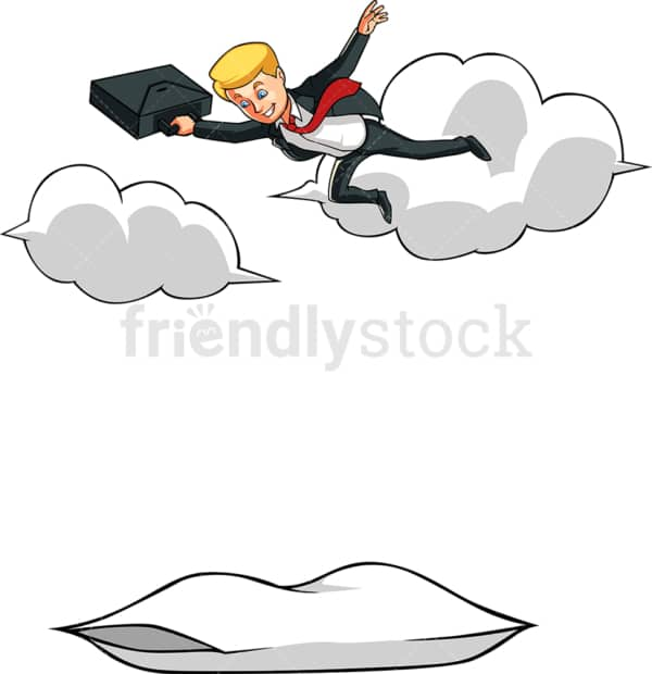 Businessman falling towards pillow. PNG - JPG and vector EPS file formats (infinitely scalable). Image isolated on transparent background.