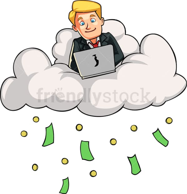 Businessman on a cloud raining cash. PNG - JPG and vector EPS file formats (infinitely scalable). Image isolated on transparent background.