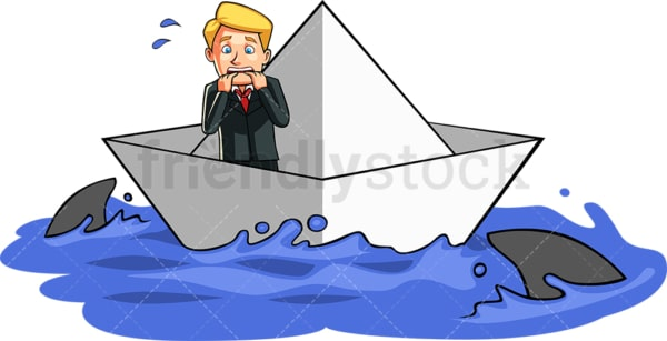 Businessman surrounded by sharks. PNG - JPG and vector EPS file formats (infinitely scalable). Image isolated on transparent background.