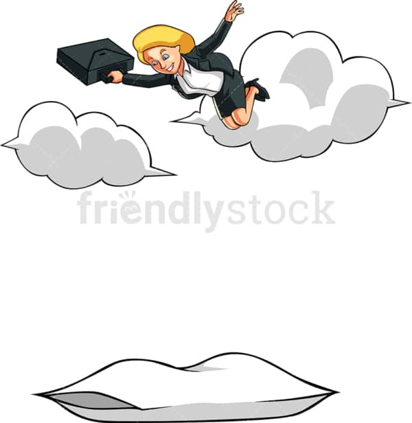 Businesswoman falling from the sky. PNG - JPG and vector EPS file formats (infinitely scalable). Image isolated on transparent background.