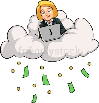 Businesswoman making money on the cloud. PNG - JPG and vector EPS file formats (infinitely scalable). Image isolated on transparent background.