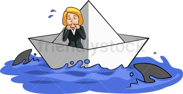 Businesswoman surrounded by sharks. PNG - JPG and vector EPS file formats (infinitely scalable). Image isolated on transparent background.