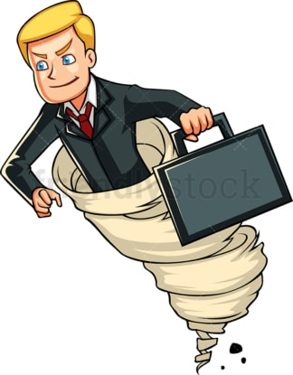 Determined businessman in tornado. PNG - JPG and vector EPS file formats (infinitely scalable). Image isolated on transparent background.