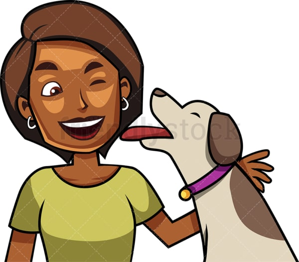 Ecstatic dog giving kisses to black woman. PNG - JPG and vector EPS file formats (infinitely scalable). Image isolated on transparent background.