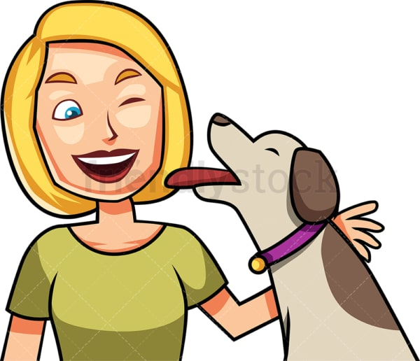 Ecstatic dog giving kisses to woman. PNG - JPG and vector EPS file formats (infinitely scalable). Image isolated on transparent background.