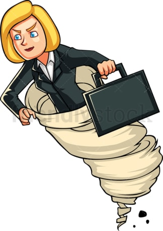 Focused businesswoman in tornado. PNG - JPG and vector EPS file formats (infinitely scalable). Image isolated on transparent background.