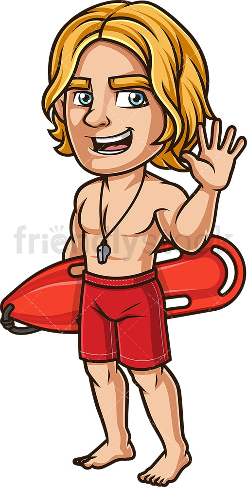 Happy lifeguard waving. PNG - JPG and vector EPS (infinitely scalable). Image isolated on transparent background.