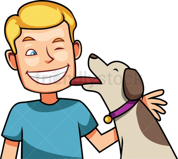 Loving dog kissing his owner. PNG - JPG and vector EPS file formats (infinitely scalable). Image isolated on transparent background.