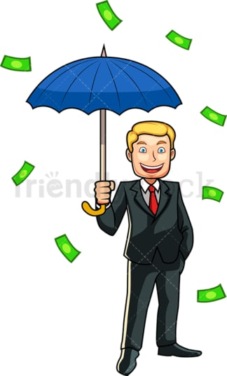Money raining down a man. PNG - JPG and vector EPS file formats (infinitely scalable). Image isolated on transparent background.