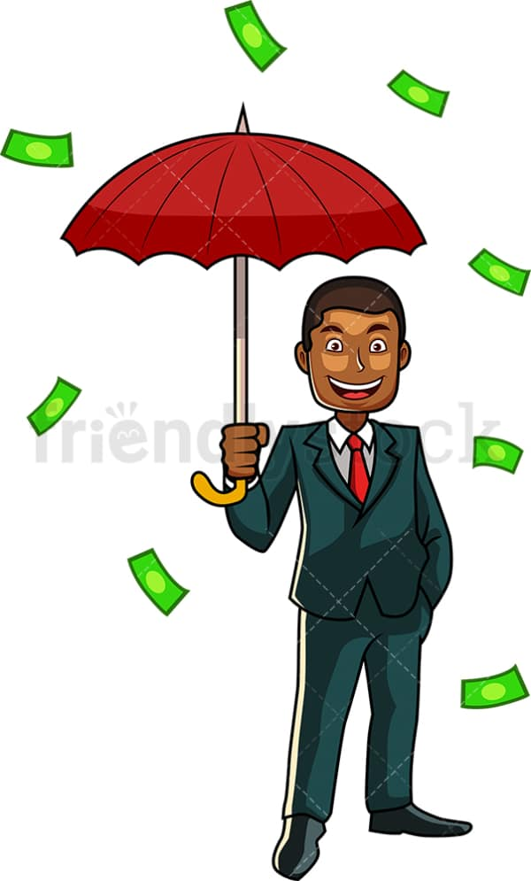 Money raining down black businessman. PNG - JPG and vector EPS file formats (infinitely scalable). Image isolated on transparent background.