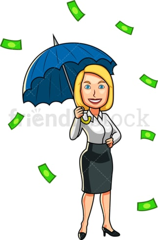 Money raining down woman holding umbrella. PNG - JPG and vector EPS file formats (infinitely scalable). Image isolated on transparent background.