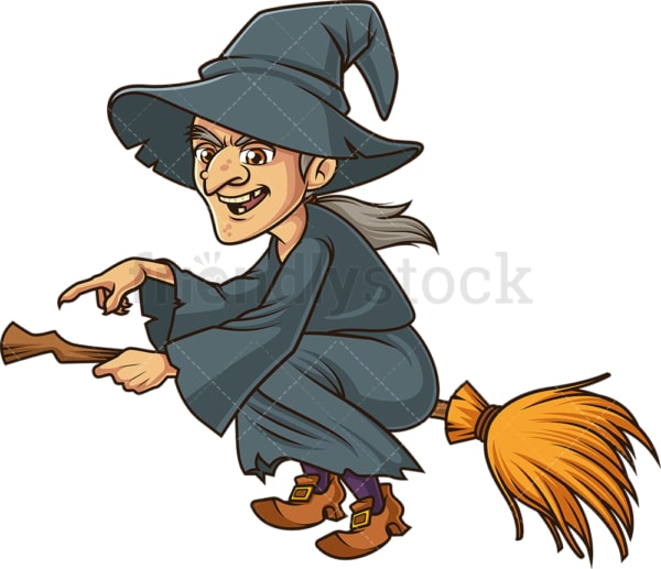 Witch pointing while on broomstick. PNG - JPG and vector EPS (infinitely scalable).