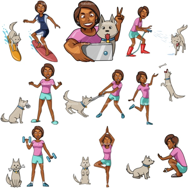 10 vector images of a black female in activities with her dog. PNG - JPG and vector EPS file formats (infinitely scalable). Images isolated on transparent background.