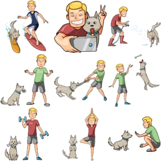 10 vector images of a man having some fun with his dog. PNG - JPG and vector EPS file formats (infinitely scalable). Images isolated on transparent background.