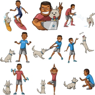 10 vector images of a black male spending time with his dog. PNG - JPG and vector EPS file formats (infinitely scalable). Images isolated on transparent background.