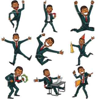 9 illustrations of a black businessman feeling happy. PNG - JPG and vector EPS file formats (infinitely scalable). Images isolated on transparent background.