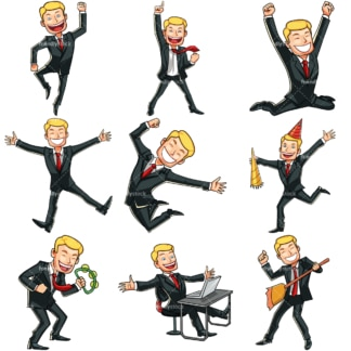 9 vector illustrations of a businessman feeling happy. PNG - JPG and vector EPS file formats (infinitely scalable). Images isolated on transparent background.