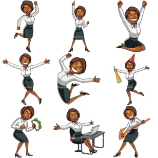 Black businesswoman feeling happy. PNG - JPG and vector EPS file formats (infinitely scalable). Images isolated on transparent background.
