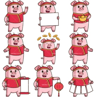 Chinese new year of the pig cartoon character. PNG - JPG and infinitely scalable vector EPS - on white or transparent background.