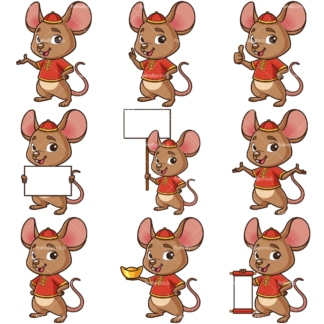 Chinese new year of the rat cartoon character. PNG - JPG and infinitely scalable vector EPS - on white or transparent background.