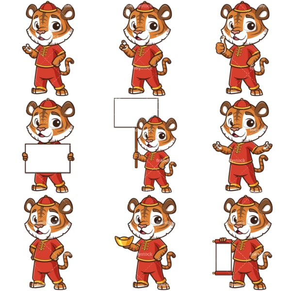 Chinese new year of the tiger cartoon character. PNG - JPG and infinitely scalable vector EPS - on white or transparent background.
