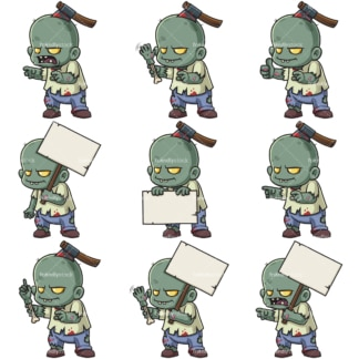 Cute little zombie. PNG - JPG and infinitely scalable vector EPS - on white or transparent background.