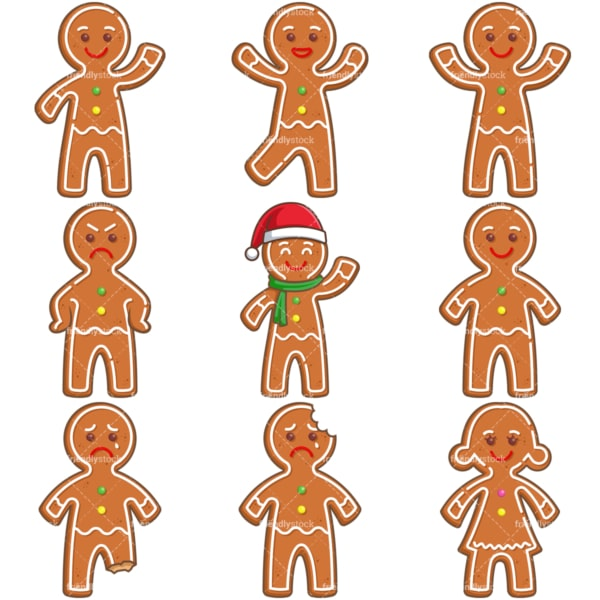 Gingerbread man. PNG - JPG and infinitely scalable vector EPS - on white or transparent background.