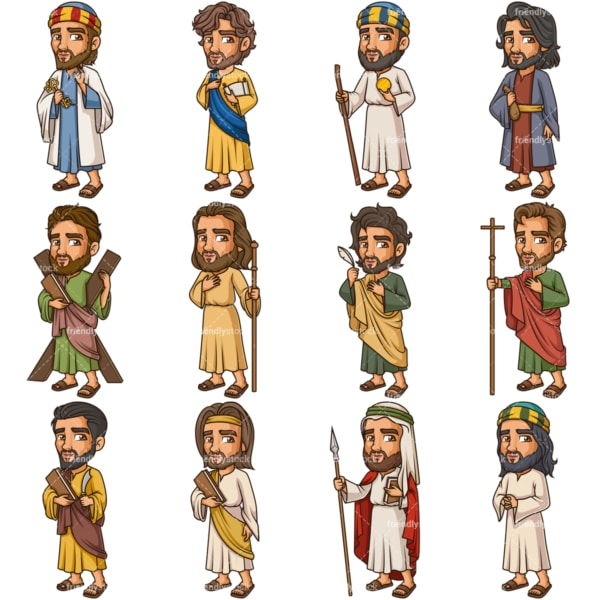 The 12 Disciples Of Jesus Christ. PNG - JPG and vector EPS file formats (infinitely scalable). Images isolated on transparent background.