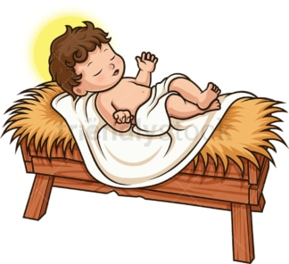 Baby Jesus Christ In The Crib. PNG - JPG and vector EPS (infinitely scalable).
