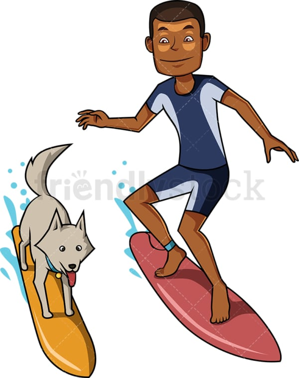 Black man and dog surfing on waves. PNG - JPG and vector EPS file formats (infinitely scalable). Image isolated on transparent background.