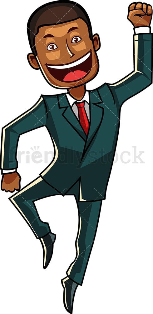Black man jumping for joy. PNG - JPG and vector EPS file formats (infinitely scalable). Image isolated on transparent background.