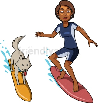 Black woman and dog surfing ocean waves. PNG - JPG and vector EPS file formats (infinitely scalable). Image isolated on transparent background.
