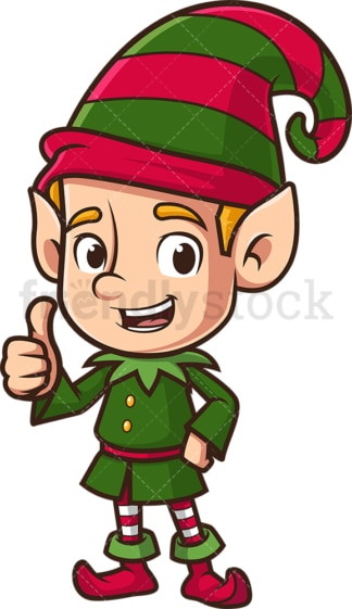 Christmas elf thumbs up. PNG - JPG and vector EPS (infinitely scalable).