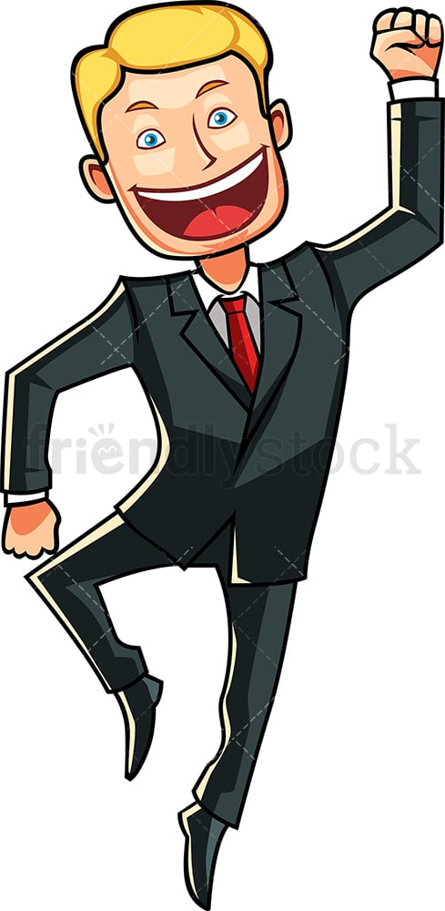 Ecstatic man jumping. PNG - JPG and vector EPS file formats (infinitely scalable). Image isolated on transparent background.