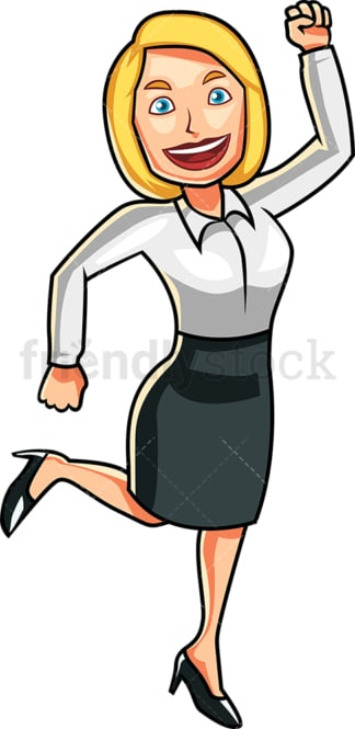 Ecstatic woman jumping. PNG - JPG and vector EPS file formats (infinitely scalable). Image isolated on transparent background.