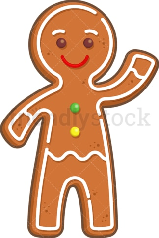 Gingerbread man waving. PNG - JPG and vector EPS (infinitely scalable).
