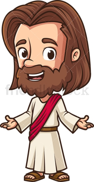 Kawaii jesus welcoming everyone. PNG - JPG and vector EPS (infinitely scalable).