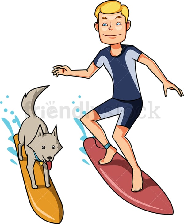 Man and dog surfing together. PNG - JPG and vector EPS file formats (infinitely scalable). Image isolated on transparent background.