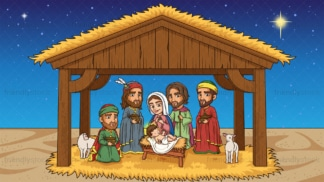 Nativity scene the birth of jesus christ in 16:9 aspect ratio. PNG - JPG and vector EPS file formats (infinitely scalable).