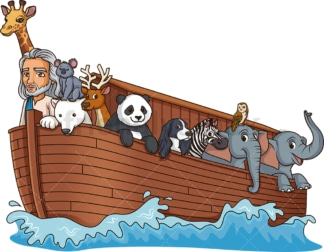 Noah in his ark. PNG - JPG and vector EPS (infinitely scalable).