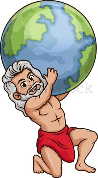 Titan god atlas holding the earth. PNG - JPG and vector EPS file formats (infinitely scalable). Image isolated on transparent background.