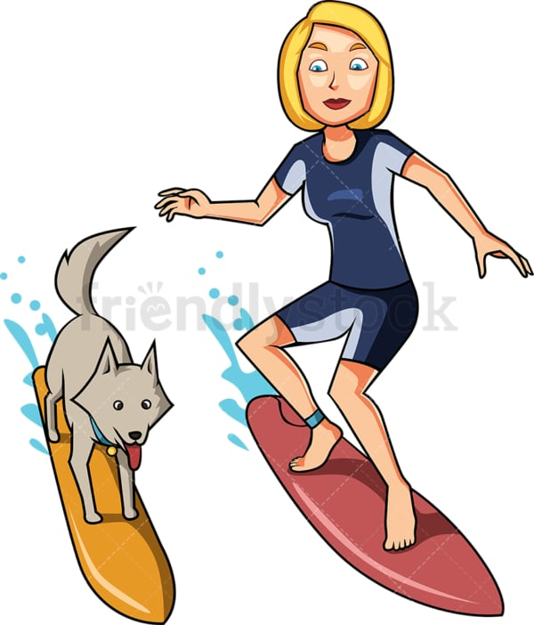 Woman and dog surfing together. PNG - JPG and vector EPS file formats (infinitely scalable). Image isolated on transparent background.