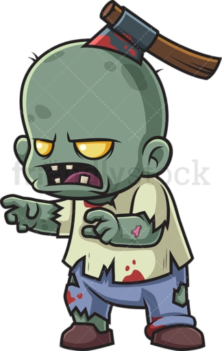 Zombie kid with axe in head. PNG - JPG and vector EPS (infinitely scalable).