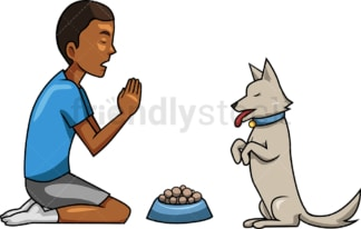 Black man praying with his dog. PNG - JPG and vector EPS file formats (infinitely scalable). Image isolated on transparent background.