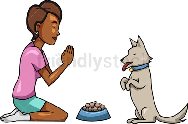 Black woman praying with her dog. PNG - JPG and vector EPS file formats (infinitely scalable). Image isolated on transparent background.