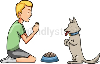 Man praying with dog before dinner. PNG - JPG and vector EPS file formats (infinitely scalable). Image isolated on transparent background.