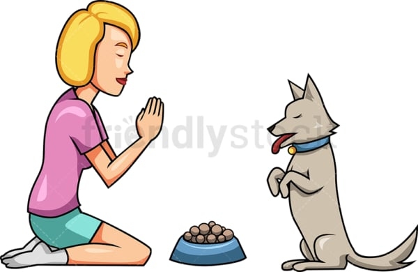 Woman praying with dog before dinner. PNG - JPG and vector EPS file formats (infinitely scalable). Image isolated on transparent background.