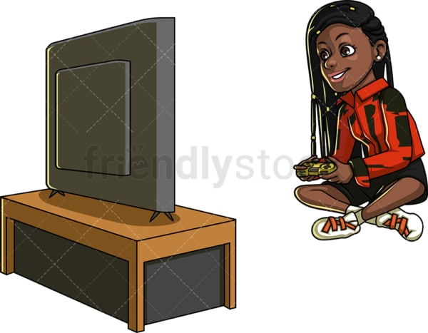Black woman gaming. PNG - JPG and vector EPS file formats (infinitely scalable). Image isolated on transparent background.