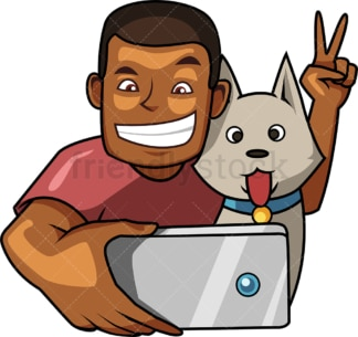 Cheerful black man taking selfie with dog. PNG - JPG and vector EPS file formats (infinitely scalable). Image isolated on transparent background.